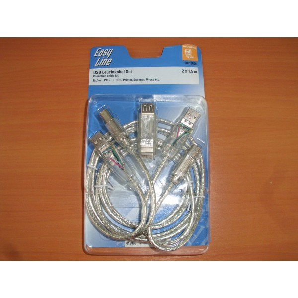 Kit USB NOU Desigilat Easy Line PC-HUB,Imprimanta,Scanner,Mouse,etc. 2 x 1.5m